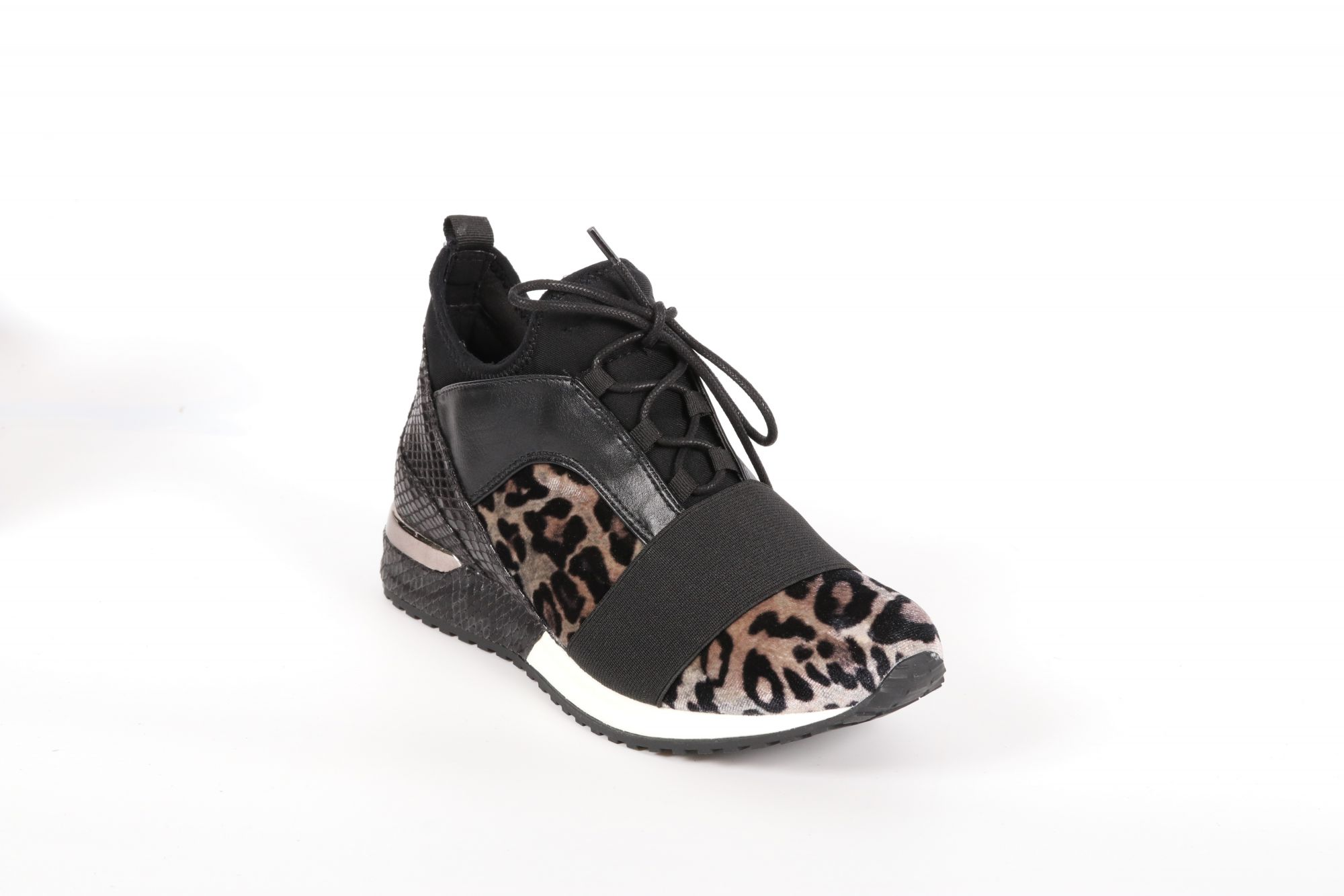 Basket femme Reqins Isis Mix Velour Leo Taupe