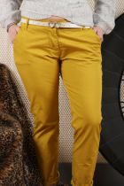 Pantalon femme chino jaune ocre\n4 tailles