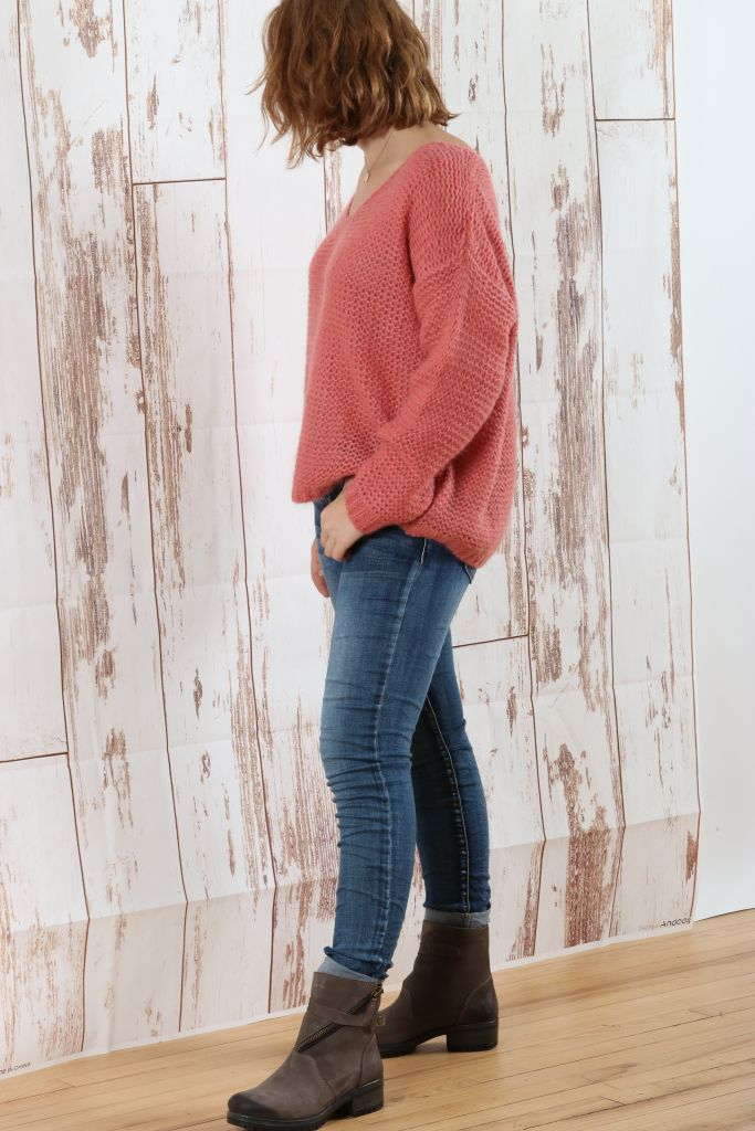 Pull  en laine rose corail grosse maille