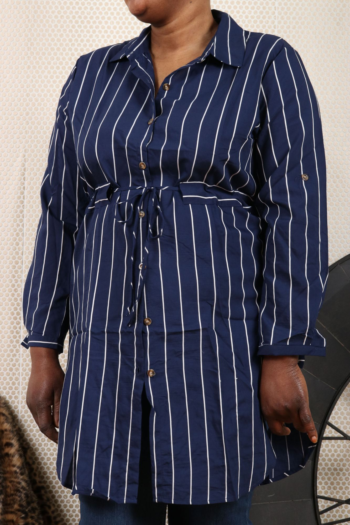 Robe femme grande taille marine à rayures blanches\n5 tailles