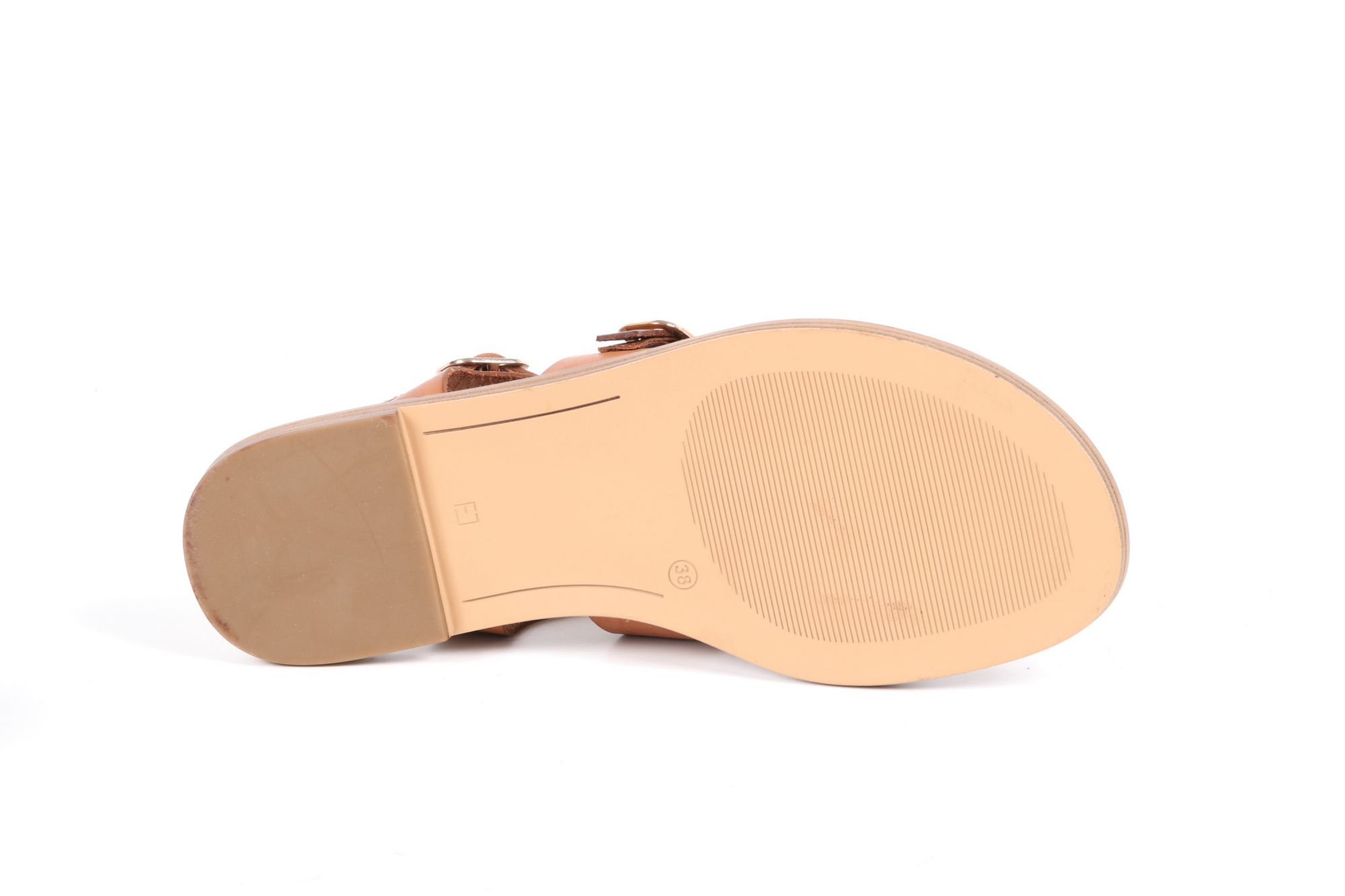 Sandales femme plates Aliwell Solal cuir camel