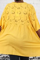 Tunique jaune femme grande taille broderie anglaise